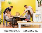 3d printer machine with... | Shutterstock . vector #335785946