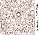 Stock vector animals cats and dogs vector seamless pattern hand drawn doodles pets cute cats and dogs black 335798846