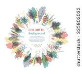 autumnal round frame. wreath of ... | Shutterstock .eps vector #335802032