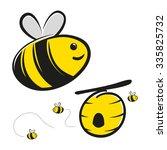 cute honey bee and bee hive...   Shutterstock .eps vector #335825732