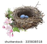bird's nest with eggs. hand... | Shutterstock .eps vector #335838518