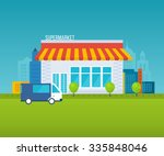 supermarket store concept with... | Shutterstock . vector #335848046