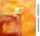 Abstract impressionist painting of a coffee cup. - stock photo