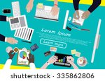 diverse businesspeople working  ... | Shutterstock .eps vector #335862806