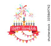 hanukkah menorah with candles... | Shutterstock .eps vector #335869742