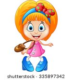 girl shopping cartoon | Shutterstock .eps vector #335897342
