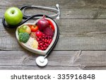 Healthy food in heart and...