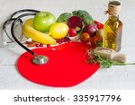 diet and healthy food on a red... | Shutterstock . vector #335917796