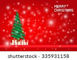 snow and chrisms tree with gift ... | Shutterstock .eps vector #335931158