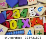 wooden blocks and multicolor... | Shutterstock . vector #335931878