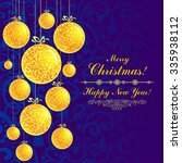 christmas greeting card.... | Shutterstock . vector #335938112