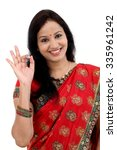traditional indian young woman...   Shutterstock . vector #335961242