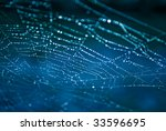 spiderweb with dewdrops on blue ... | Shutterstock . vector #33596695