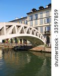 View of Naviglio grande, canal in Milan, Italy - stock photo