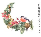 watercolor christmas ... | Shutterstock . vector #336023228