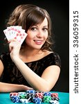 young woman holding gambling... | Shutterstock . vector #336059315