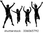 happy family jumping silhouette | Shutterstock .eps vector #336065792