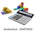 calculator  money  credit cards ... | Shutterstock . vector #336070022