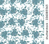 seamless pattern with blue... | Shutterstock . vector #336085565