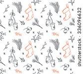 seamless christmas pattern.... | Shutterstock .eps vector #336096632