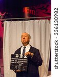 Small photo of LOS ANGELES, USA - SEP 28, 2015: Alfred Hitchcock in Madame Tussauds Hollywood wax museum. Marie Tussaud was born as Marie Grosholtz in 1761