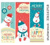 vector cheerful christmas cards ... | Shutterstock .eps vector #336161918