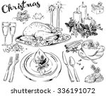 hand drawn christmas doodles... | Shutterstock .eps vector #336191072