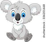 Cartoon Adorable Koala Sitting...