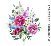 watercolor floral design ... | Shutterstock . vector #336217826