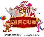 cartoon happy animal circus... | Shutterstock . vector #336226172