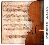 cello on an ancient music sheet ... | Shutterstock . vector #3362571