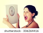 frustrated young woman with... | Shutterstock . vector #336264416