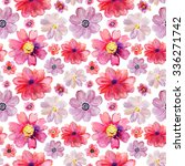 Stock photo repeating pink watercolor floral pattern tropical flower background 336271742