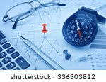 blue compass  pen and pin on... | Shutterstock . vector #336303812