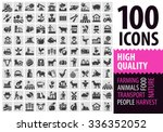 farm black icons set. gardening ... | Shutterstock .eps vector #336352052