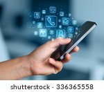 hand holding smartphone with... | Shutterstock . vector #336365558