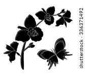 black silhouette of orchid...   Shutterstock .eps vector #336371492