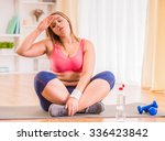 fat woman dieting  fitness and... | Shutterstock . vector #336423842