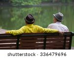 senior elder man sitting on... | Shutterstock . vector #336479696