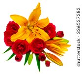 flowers lilies and roses... | Shutterstock . vector #336527282