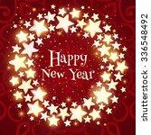 christmas wreath on red...   Shutterstock .eps vector #336548492