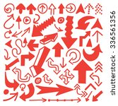hand drawn arrows in red.... | Shutterstock .eps vector #336561356