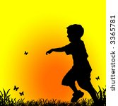 little boy chasing butterflies | Shutterstock . vector #3365781