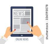online reading news. female... | Shutterstock .eps vector #336593078