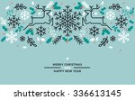 flat line design christmas and... | Shutterstock .eps vector #336613145