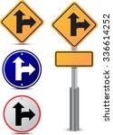 straight or turn right sign... | Shutterstock .eps vector #336614252