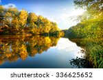 Colorful Autumn On Calm River...