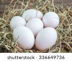 Fresh Duck Eggs On Wooden...