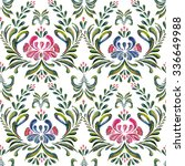 seamless pattern with floral... | Shutterstock .eps vector #336649988