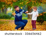 happy father and son playing in ... | Shutterstock . vector #336656462